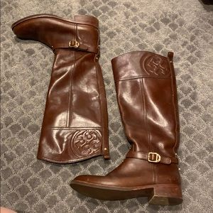 Tory Burch brown leather riding boots size 8